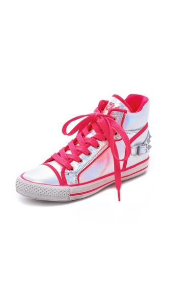 Ash Vertigo Neon Trim Sneakers - Silver/Fluo Pink at Shopbop / East Dane