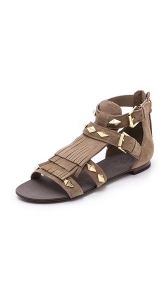 Ash Mascara Fringe Flat Sandals