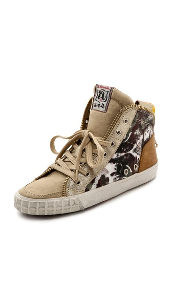 Ash Shake Printed High Top Sneakers - Desert/Platine/Camel/Sand at Shopbop / East Dane