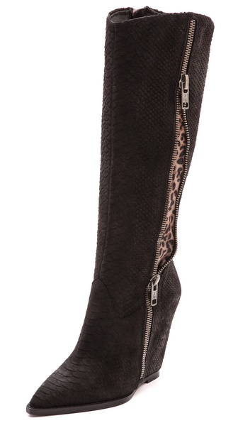 Ash Joyce Leopard Inset Wedge Boots