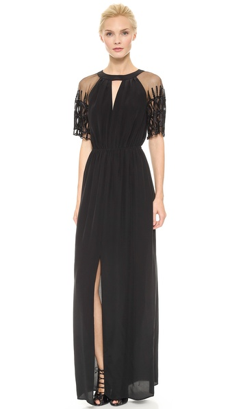 Shop ALICE by Temperley online and buy Alice By Temperley Everette Maxi Dress Black - An elongated slit and a triangle cutout bring flirtatious edge to this ALICE by Temperley maxi dress. The sheer sleeves are cut from embroidered mesh for a light, graceful finish. Gathered elastic waist. Buttoned keyhole. Lined. Fabric: Silk crepe. Shell: 100% silk. Lining: 100% polyester. Dry clean. Imported, China. Measurements Length: 58in / 147.5cm, from shoulder Measurements from size 2. Available sizes: 4,8