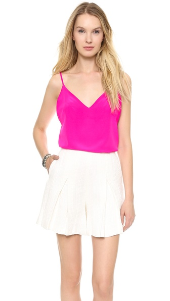 Amanda Uprichard V Neck Silk Camisole - Hot Pink at Shopbop / East Dane