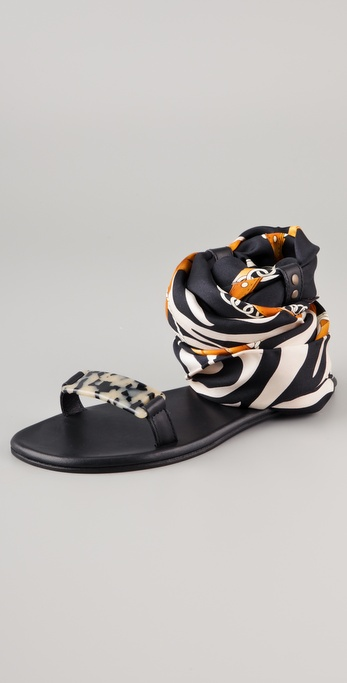 Avec Moderation Print Scarf Ankle Wrap Sandals