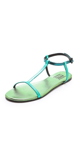 Kupi Avec Moderation cipele online i raspordaja za kupiti Vivid metallic leather lends statement-making style to simple T-strap sandals. Buckle ankle strap. Leather sole.  Leather: Kidskin. Made in Italy. This item cannot be gift-boxed. - Mermaid
