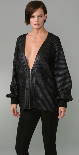 Alexander Wang Oil Slick Zip Cardigan