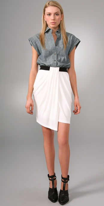 Alexander Wang Denim Oxford Shirt Dress with Rib Combo
