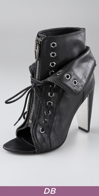 Alexander Wang Freja Open Toe Laced Zip Booties