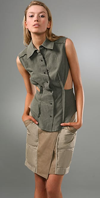Alexander Wang Sleeveless Oxford Top with Cutout Sides
