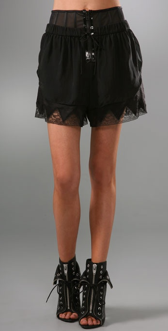 Alexander Wang Chiffon Lingerie Shorts with Corset Detail