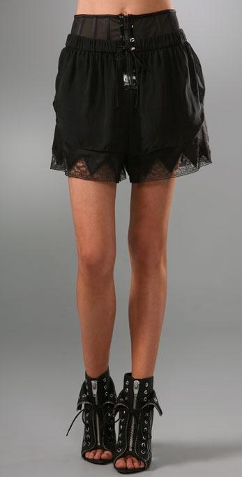 Alexander Wang Chiffon Lingerie Shorts with Corset Detail