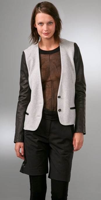 Alexander Wang Oversized Soft Blazer with Leather Sleeves