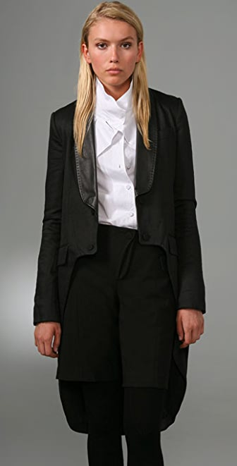 Alexander Wang Tailcoat with Leather Collar