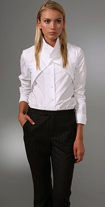 Alexander Wang Dress Shirt with Wraparound Lapel Detail
