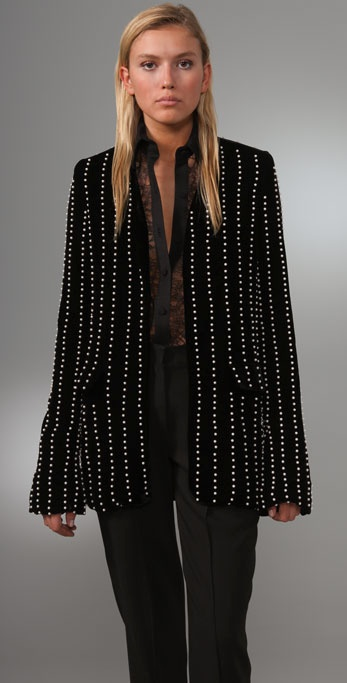 Alexander Wang Collarless Velvet Blazer with Pearl Embroidery