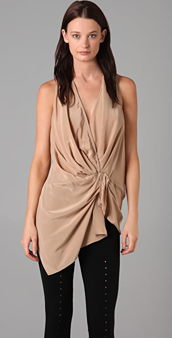 Alexander Wang Sleeveless Draped Top with Zip Detail