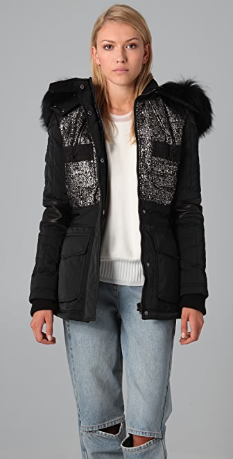 Alexander Wang Tweed Ski Jacket with Fur Trim