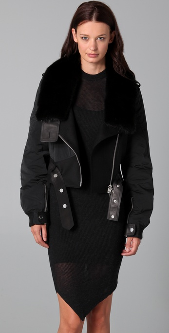 Alexander Wang Aviator Tailcoat with Mink Collar