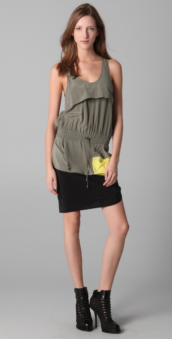Alexander Wang Draped Starter Colorblock Tank Dress