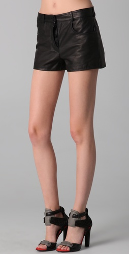 Alexander Wang Leather Shorts with Cutaway Fly