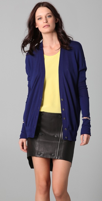 Alexander Wang Cardigan with Cellophane Stripe Trim