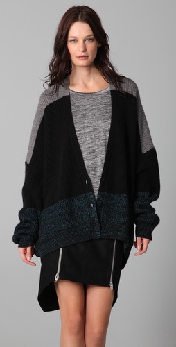 Alexander Wang Marled Colorblock Cardigan