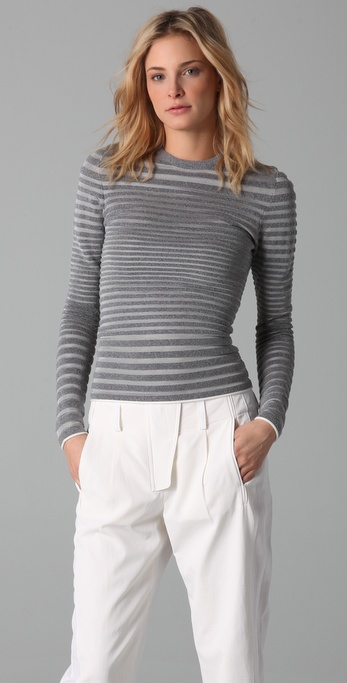 Alexander Wang Engineered Stripe Long Sleeve Top