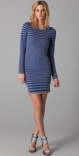 Alexander Wang Engineered Stripe Long Sleeve Dress