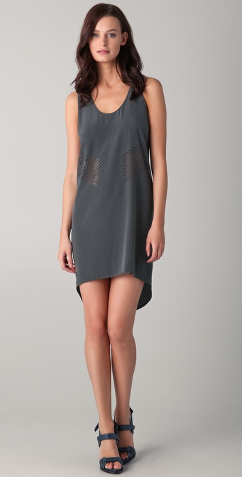 Alexander Wang Mesh Laser Cut Racer Back Dress