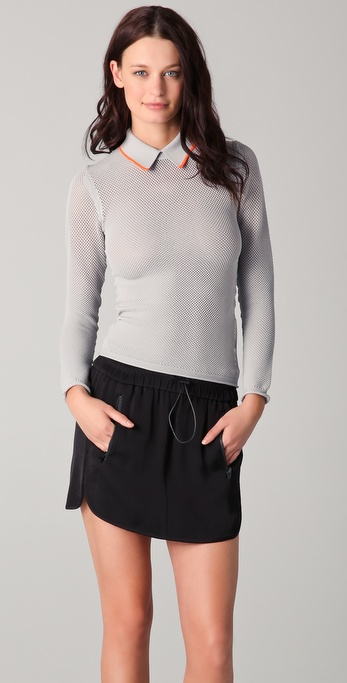Alexander Wang Long Sleeve Mesh Polo