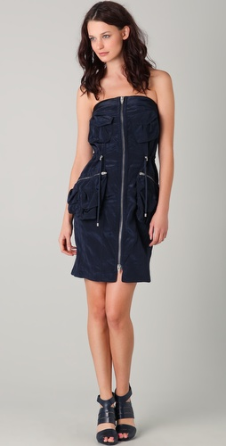 Alexander Wang Strapless Peplum Cargo Dress