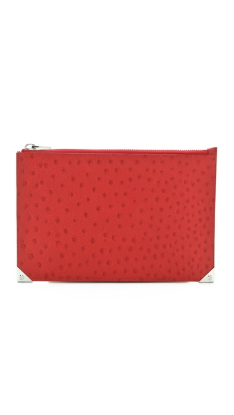 Alexander Wang Prisma Embossed Ostrich Flat Clutch
