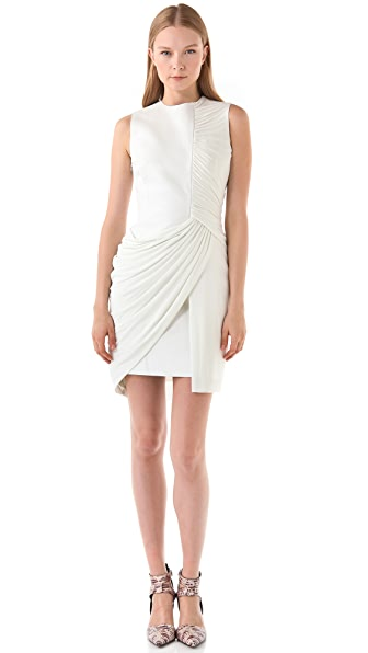 Alexander Wang Leather Tank Dress With Draping