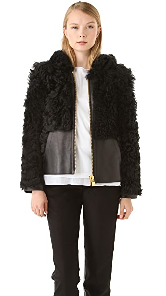 Alexander Wang Shearling & Leather Hoodie