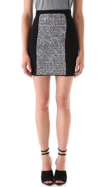 Alexander Wang Rubberized Tweed Miniskirt