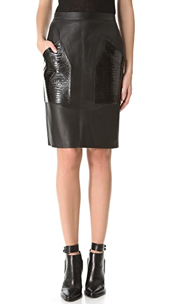 Alexander Wang Croc Pocket Leather Pencil Skirt