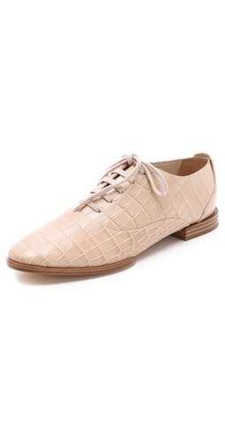 Alexander Wang Ingrid Lace Up Oxford Almond Croc Printed Bovine