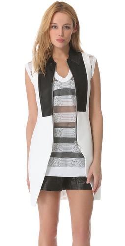 Alexander Wang Leather Trim Zip Vest