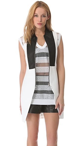 Alexander Wang Leather Trim Zip Vest
