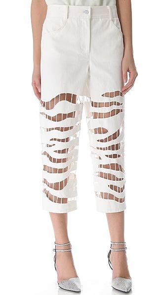 Alexander Wang Zebra Embroidered Crop Jeans