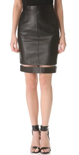 Alexander Wang Leather Fishline Pencil Skirt