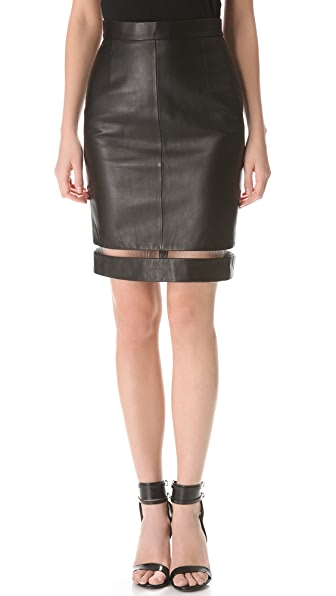 Alexander Wang Leather Fishline Pencil Skirt