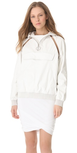 Alexander Wang Leather Hooded Fishline Pullover