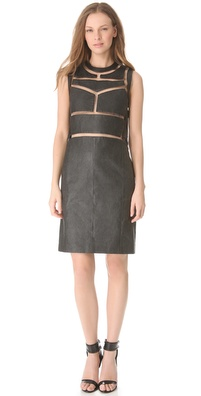 Alexander Wang Leather Cutout Fishline Dress