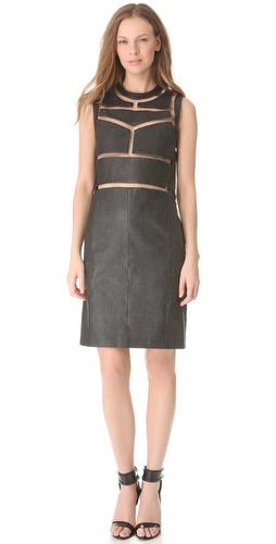 Alexander Wang Leather Cutout Fishline Dress