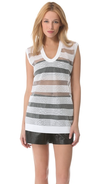 Alexander Wang Snakeskin Sheer Sweater Tank