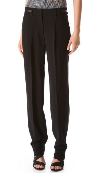 Alexander Wang Boyfriend Pants with Leather Trim