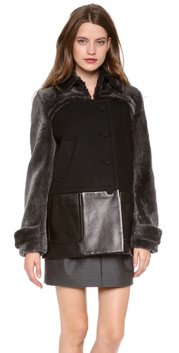 Alexander Wang Shearling Pea Coat with Bolero
