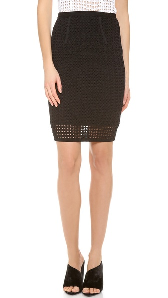Alexander Wang Crochet Fitted Pencil Skirt