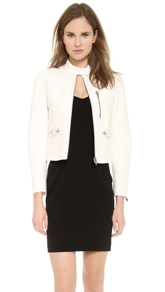 Alexander Wang Zip Up Split Hem Moto Jacket - Muslin at Shopbop / East Dane