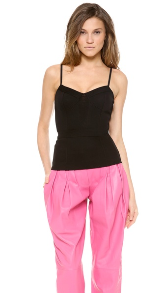 Alexander Wang Mesh Panel Bustier Camisole - Jet at Shopbop / East Dane